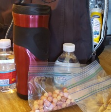 Packing coffee, water, and snacks in backpack for outing with kids. We can create beauty in our days with the choices we make! Christian Life Coach