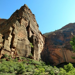 Weeping Rock at Zion National Park, Utah, view looking up at it from the creek.