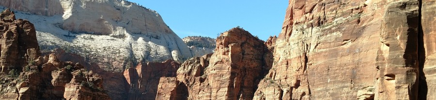 view toward Angel's Landing and the Great White Throne at Zion National Park. Used as header for post on asking questions; asking questions requires that we be quiet like these mountains and ready to listen! Christian Life Coach